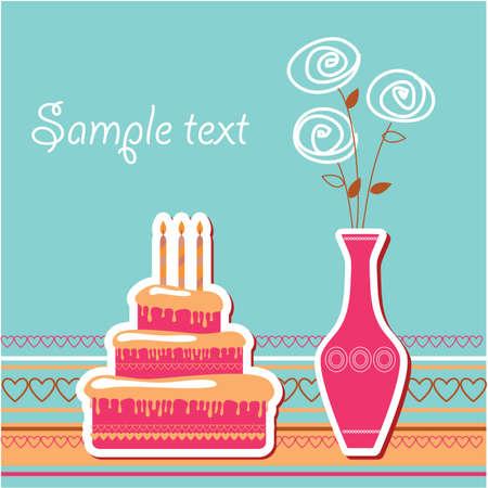 Plantilla de tarjeta - feliz cumpleaños! Insertar el texto. Ilustración de vector
