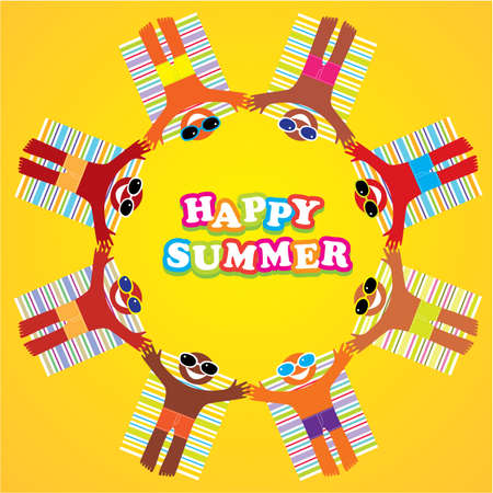 Happy summer - an illustration, background for your design. Beach vacation. Stock Vector - 9717370