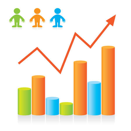 Graph - the progressive development of the business. Template. Vector