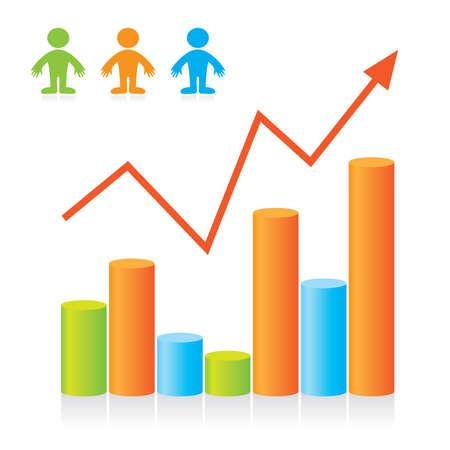 market analysis: Graph - the progressive development of the business. Template. Illustration