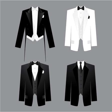 Código de vestimenta para hombres - traje masculino: colas, esmoquin, vestido de traje.Opciones junto el sarao, presentaciones, reuniones de negocios, partes, etc.. Ilustración de vector