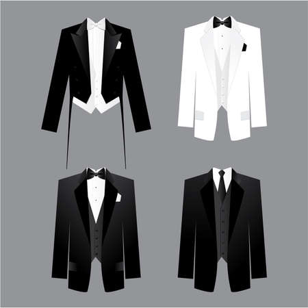 white coat: Dress code for men - male costume: tails, tuxedo, dress suit. Options along for the soiree, presentations, business meetings, parties, etc.