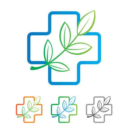 medicamentos: Plantilla del signo - un producto natural para su salud. Variaciones de color.