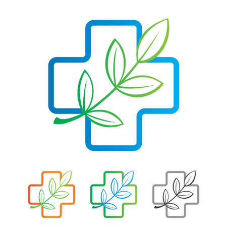 medicine icon: Template of the sign - a natural product for your health. Color variations.