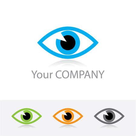 oeil dessin: Mod�le vectoriel logo corporatif - optique ophtalmique. Les options de couleur + version noir et blanche. Juste placer votre propre nom de marque.
