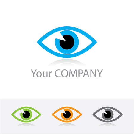 eye drawing: Template vector corporate logo - ophthalmic optics. Color options + black and white version. Just place your own brand name.