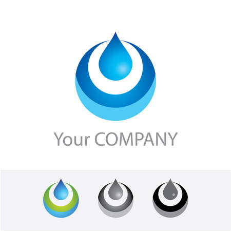 water logo: Template vector corporate logo - Pure Water. Color options + black and white version. Just place your own brand name.