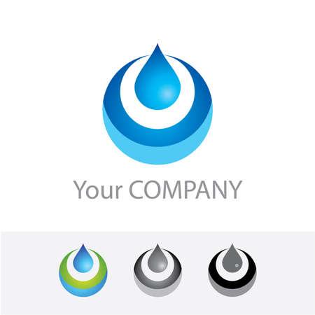 Logo aziendale modello vector - acqua pura. Opzioni di colore + versione bianco e nero. Basta inserire il proprio marchio.