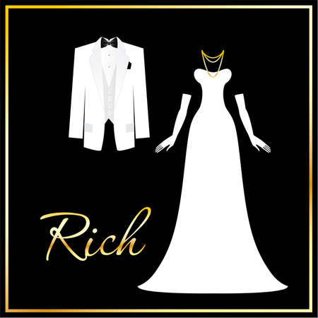 Luxuus dress code - a symbol of wealth, success and affluence. For men - white tuxedo and the butterfly, for women - long gown and gloves. Stock Vector - 9717347