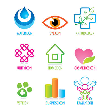 Set of generic icons on different themes: water, optics, cosmetics, family, home, business, nature, animal health, unity  Illustration