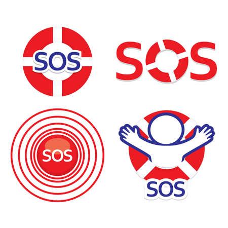 Set sign sos - the international distress signal. Vector