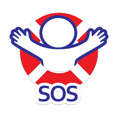 СОС: Sign  symbol sos - the international distress signal.