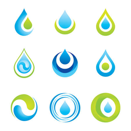 Set of icons/symbols - water and ecology Çizim