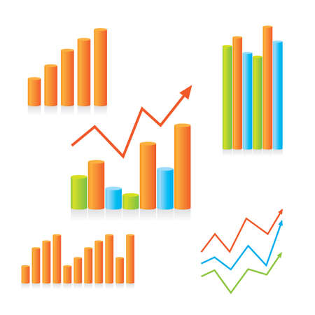 Template set of graphs showing progress. To design your presentation.