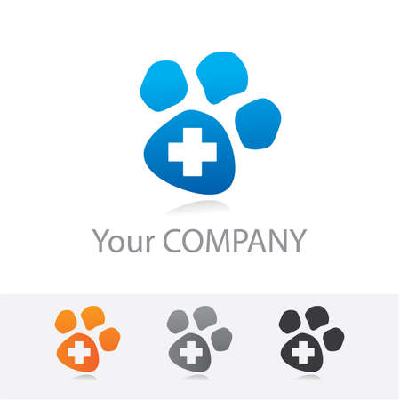 Template vector corporate logo - veterinary medicine. Color options + black and white version. Just place your own brand name. Illustration