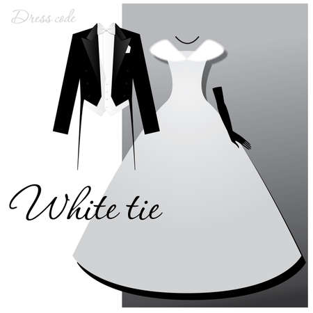 evening dress: Dress code - White tie. Male - tails, light vest and white bow tie, a woman - a ball or evening gown, long gloves and a fur cape. Illustration