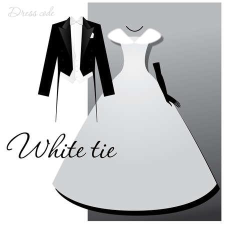 Dress code - wit tie. Man - staarten, lichte vest en witte vlinderdas, een vrouw - een bal of avondjurk, lange handschoenen en een vacht cape. Vector Illustratie