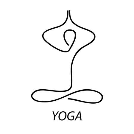 Yoga - sign. Symbol - the lotus posture. Meditation. Relax. Illustration