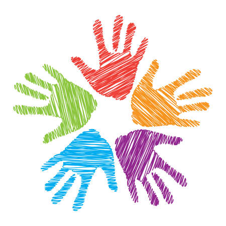 computer support: Un segno di amicizia, di unit�, supporto e assistenza. Vettoriali