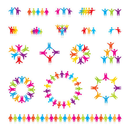 friendship circle: Big vector set of icons - successful team.