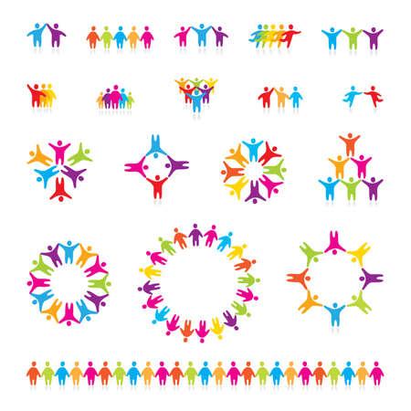 mensen kring: Groot vector set van iconen - succesvolle team. Stock Illustratie