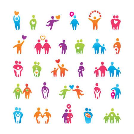 comunidades: Conjunto de grandes vectores de iconos - amor, familia y del ni�o.