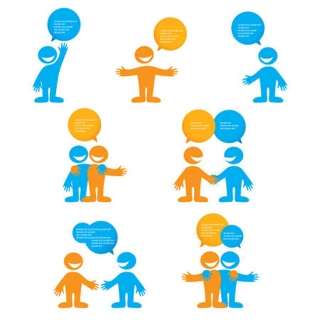 friends talking: Collection of people with bubbles for dialogue.  Illustration