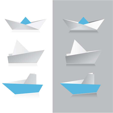 Сollection of origami-ship. Vector templates. Vector
