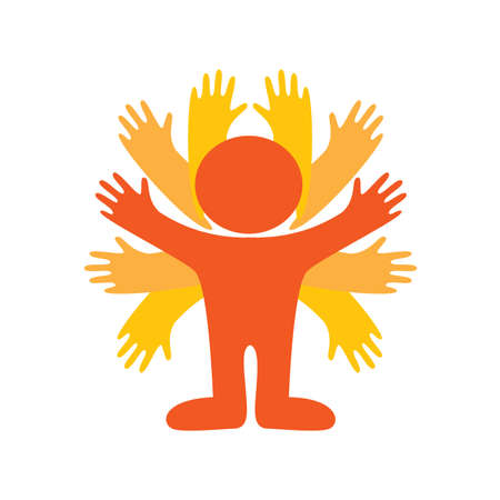wave hello: Icon - powerful people. Symbol - Super man. Vector sign.