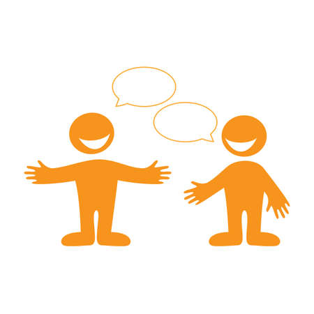 people discuss: Conversation between two people. Insert your text in the bubbles for speech. Vector.