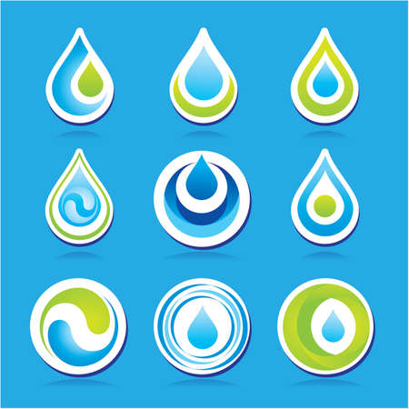 Set of icons - the water. Vector templates. Çizim