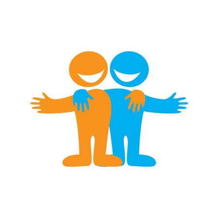 Amigos feliz de icono. Símbolo de amistad. Signo de vector.