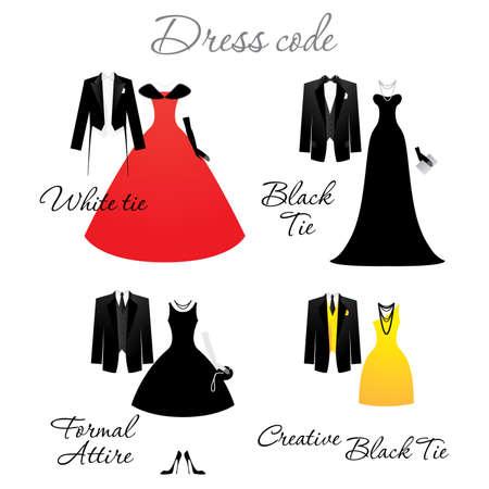 Código de vestimenta para las celebraciones. Opciones. Vector.