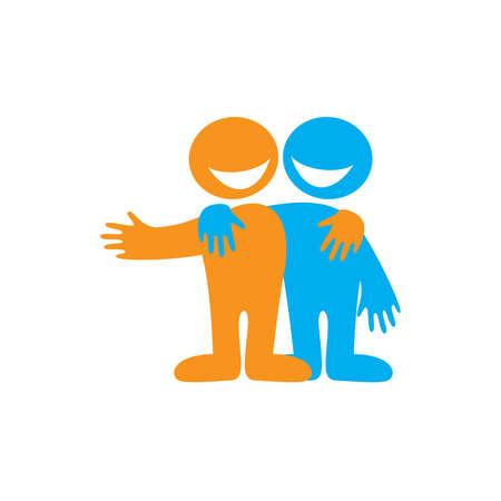 přátelé: Symbol přátelství. Ikona Šťastné přátelé. Vektor znamení.