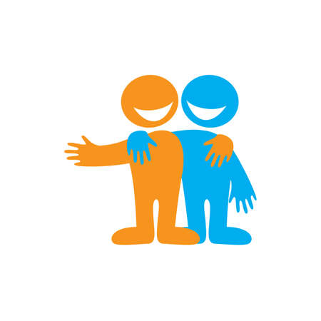 Symbool van de vriendschap. Icoon Gelukkig vrienden. Vector ondertekenen. Vector Illustratie