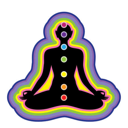 transcendence: Meditation. Location of the chakras on the human body. Vector