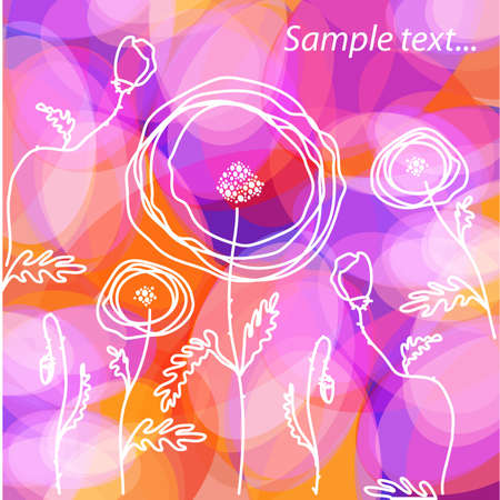 Modern floral background - blooming poppies Stock Vector - 10214941