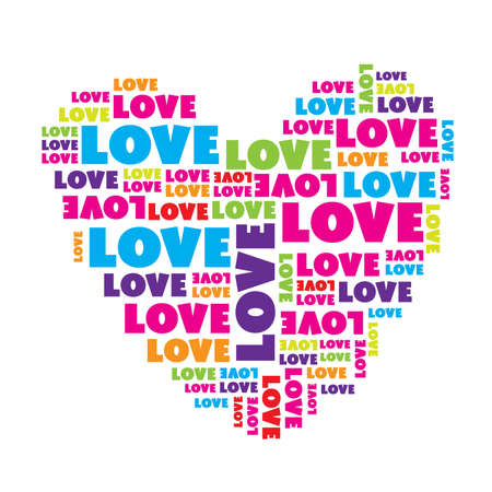 love symbols: Love sign. Нeart made of love words. Vector illustration.