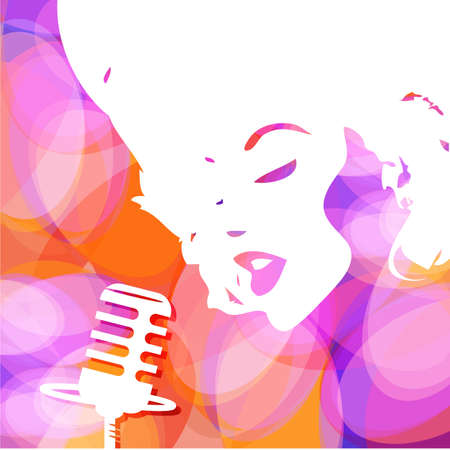 singer with microphone: Abstract musical background. Cover music CD. Vector.