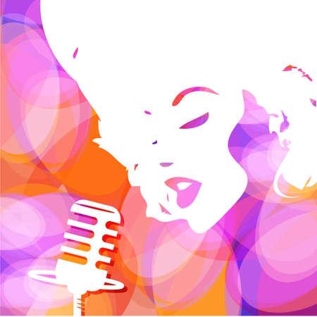 s�ngerin: Zusammenfassung musikalischen Hintergrund. Cover Musik-CD. Vector.