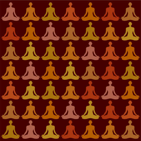 swadhisthana: Pattern-Background - yogi meditator. Vector.