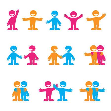 community people: Set di icone - comunicazione. Saluti, la negoziazione, l'amicizia. Vector collezione.
