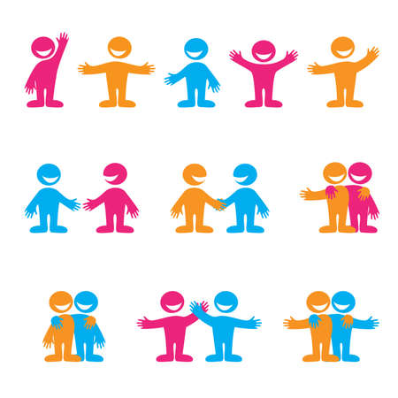 community help: Set of icons - communication. Greetings, negotiation, friendship. Vector collection.
