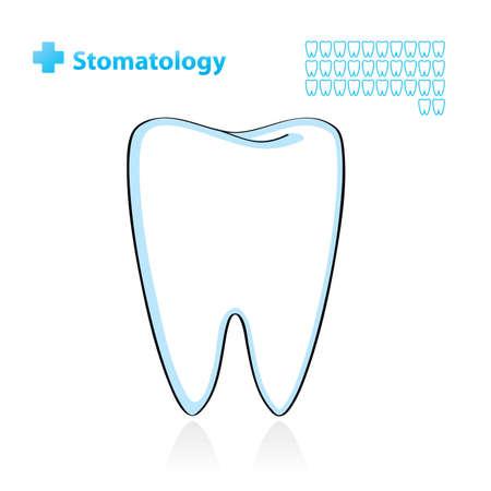 diente caries: Fondo dental con diente. Ilustraci�n vectorial.