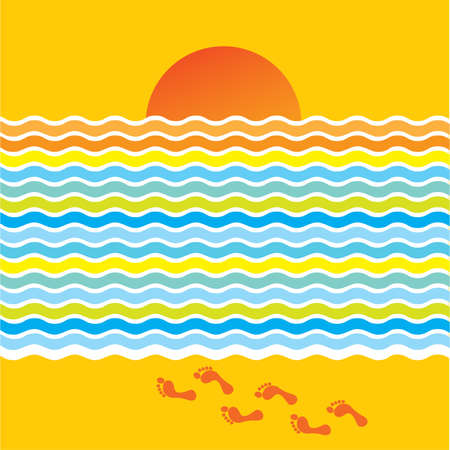Happy summer background - sea, sun, beach! Illustration