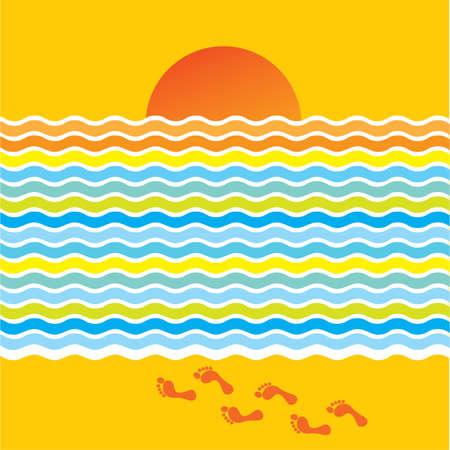 sun tan: Happy summer background - sea, sun, beach! Illustration