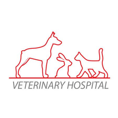 Hospital veterinario. Plantilla para marcar la clínica veterinaria. Ilustración de vector