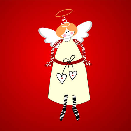 religious text: Angel. Symbol of happiness and love. Vector. Illustration