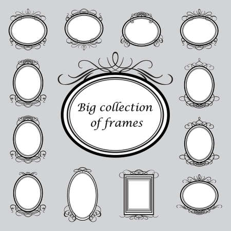 Big collection of of vintage frames. Vector template. Illustration
