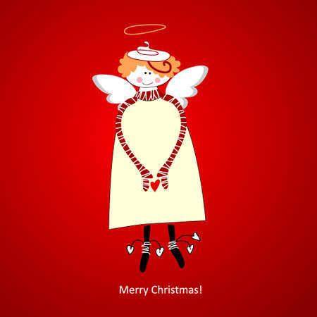 angel valentine: Template Christmas Card. Angel of happiness. Vector.